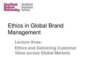 Ethics in Global Brand Management