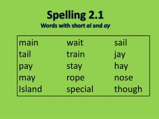 Spelling  2.1 Words with short  a i  and  ay