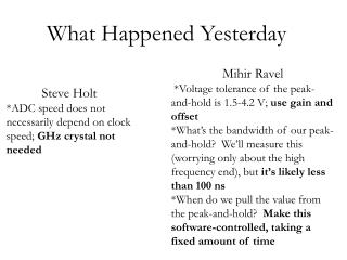 What Happened Yesterday