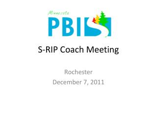 S-RIP Coach Meeting