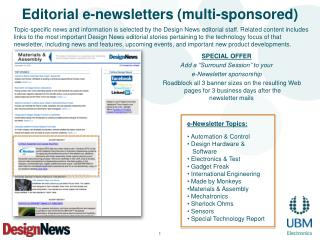 Editorial e-newsletters (multi-sponsored)