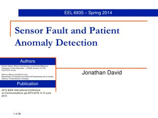 Sensor Fault and Patient Anomaly Detection