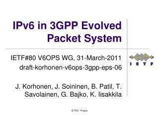 IPv6 in 3GPP Evolved Packet System