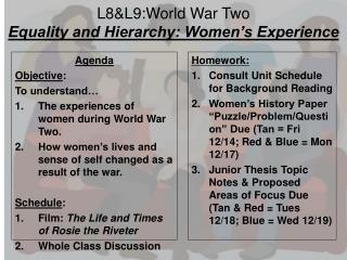 L8& L9 :World War Two Equality and Hierarchy: Women's Experience