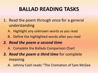 BALLAD READING  TASKS