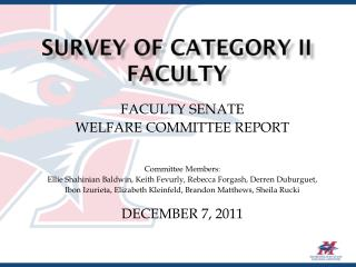 SURVEY OF Category II FACULTY