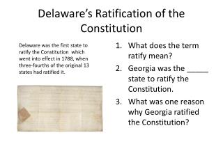 Delaware�s Ratification of the Constitution