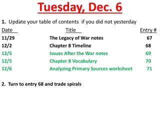 Tuesday ,  Dec.  6