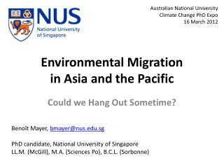 Environmental Migration in Asia and the Pacific