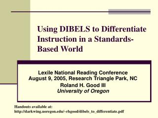 Using DIBELS to Differentiate Instruction in a Standards-Based World