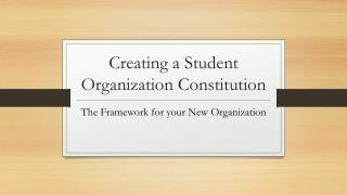 Creating a Student Organization Constitution