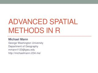 Advanced Spatial Methods in R