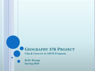 Geography 376 Project