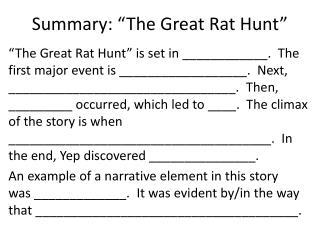 "Summary: ""The Great Rat Hunt"""