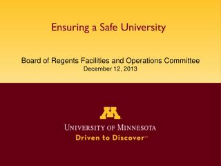 Ensuring a Safe University