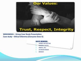 WAKAWAKA � Group Case Study Presentation Case study � Ethical Dilemma (Everyone Does it)