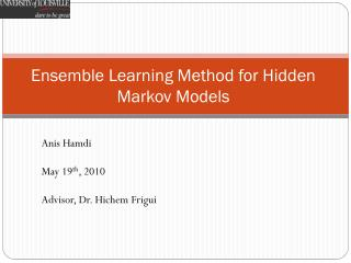 Ensemble Learning Method for Hidden Markov Models