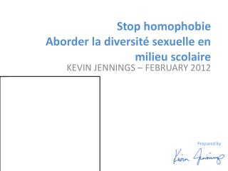 Stop  homophobie Aborder  la  diversité sexuelle  en milieu  scolaire