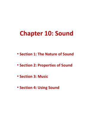Chapter 10: Sound