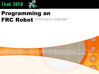 Programming an  FRC Robot