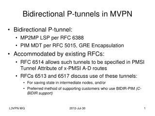 Bidirectional P-tunnels in MVPN
