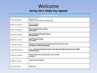 Welcome  Spring 2011 Media Day Agenda