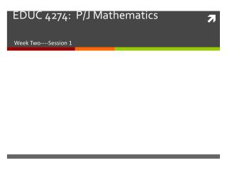 EDUC 4274:  P/J  Mathematics