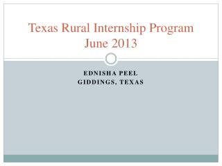 Texas Rural Internship Program June 2013