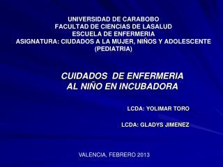 CUIDADOS  DE ENFERMERIA AL NIÑO EN INCUBADORA LCDA: YOLIMAR TORO