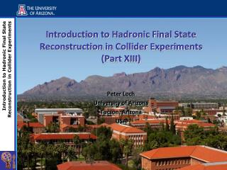 Introduction to  Hadronic  Final State Reconstruction in Collider Experiments (Part XIII)