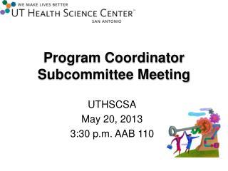 Program Coordinator Subcommittee Meeting