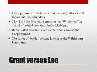 Grant versus Lee