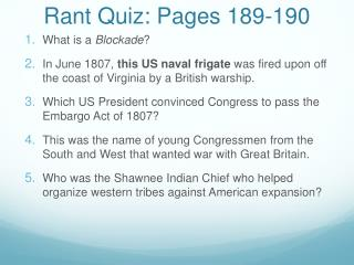 Rant Quiz: Pages 189-190