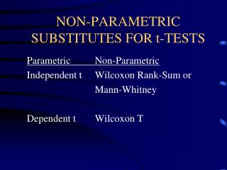 NON-PARAMETRIC SUBSTITUTES FOR t-TESTS