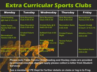 Extra Curricular Sports Clubs