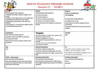MOUNT PLEASANT PRIMARY SCHOOL Summer 3.1       YEAR 2