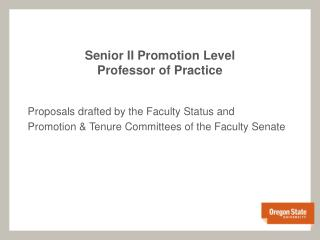 Senior II Promotion Level Professor of Practice