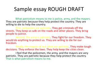 Sample essay ROUGH DRAFT