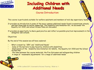 Including Children with Additional Needs