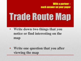 Trade Route Map