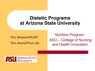Dietetic Programs at Arizona State University