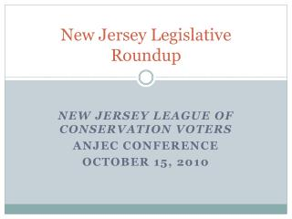 New Jersey Legislative Roundup