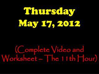 Thursday May  17,  2012