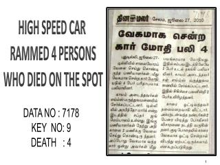 HIGH SPEED CAR  RAMMED 4 PERSONS WHO DIED ON THE SPOT