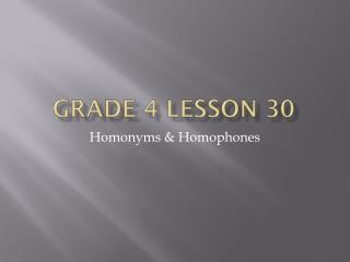 GRADE 4 LESSON 30