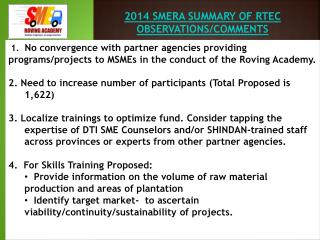 2014 SMERA SUMMARY OF RTEC OBSERVATIONS/COMMENTS