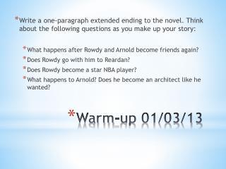 Warm-up 01/03/13