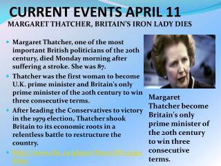 CURRENT EVENTS APRIL 11