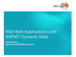 RAD Web Applications with ASP.NET Dynamic Data