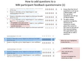 How to add questions to a  WBI participant feedback  questionnaire (1)